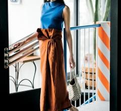 週末の街着にぴったり!エンフォルドのテラコッタスカートで新鮮夏色ミックス