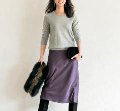 12/30 Sat. ユニクロのカシミアと艶スカートで華やぎのある休日スタイルに