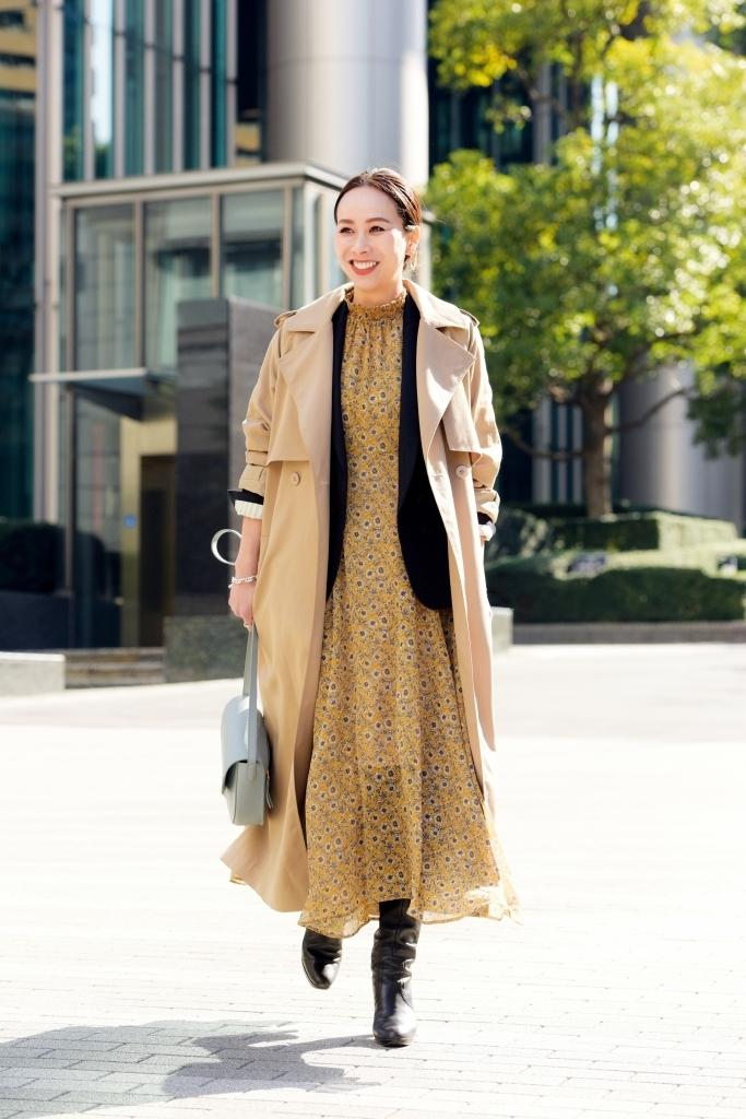 スカート編 花柄のワンピースにジャケット&トレンチを ONして大人の春スタイルに