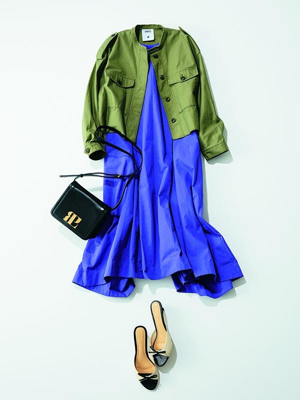 【Aライン】ワンピースコーデ12選 「紫×カーキ」オシャレ見えの新鮮配色コーデ