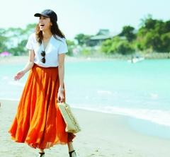 7/22 Sun. 大人の甘さ漂う【ロングスカート】で海でも女らしく