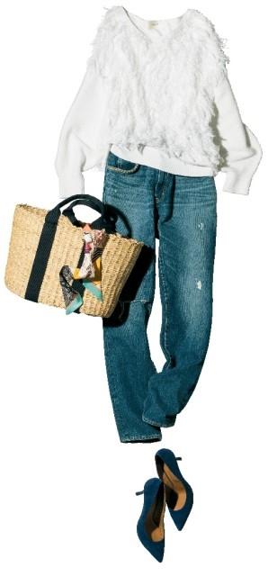 【デニムパンツ+ヒールパンプス】コーデ 表情豊かなフリンジトップスでデニムスタイルを一新