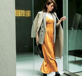 艶テロ素材の【キャミワンピ】にジャケットとコートを重ね着してオシャレ上級者に[1/12 Sat.]