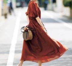 フェミニンワンピは【ブラウン】カラーを選べば大人の日常着に![6/8 Sat.]