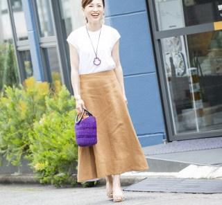 【街のオシャレ40代SNAP!July③】イレーヴのリネンスカートは、今から大活躍!