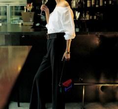 【黒パンツ1週間コーデ⑦】肌見せシャツに落ち感あるシルエットのパンツで夜のお出かけスタイルに[8/11 Sun.]