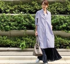 武藤京子ブログ「シャツワンピースに マキシスカートで 重ね着コーディネート」