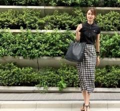 武藤京子ブログ「若い子ブランドのチェックスカートでコーディネート」