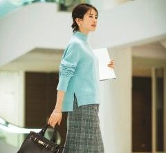 【日めくり7days②Wed】社内会議が続く日は、ライトブルーのきれい色ニットでモチベーションUP♪