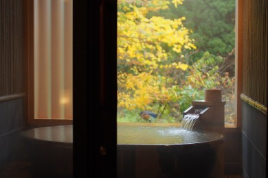 大人の秋の温泉旅。どーしても紅葉風呂に入りたい!