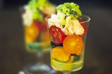 ホタテ野菜パフェ キウイのドレッシング【プロに聞いたお家ごはんレシピ】