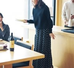 連休最終日、足裁きのいい【ドット柄スカート】でホムパに参加[1/13 Mon.]
