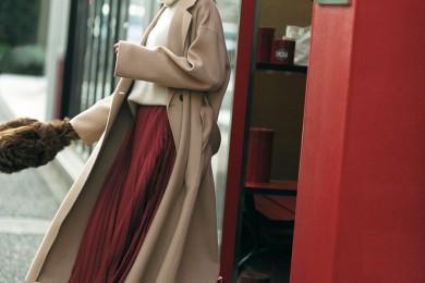 【ロングプリーツにロングコート】が冬ランチスタイルの鉄板コーデ[1/29 Wed.]
