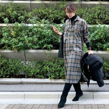 武藤京子ブログ「チェックのシャツワンピース以外は オール黒な 先日のお洋服」