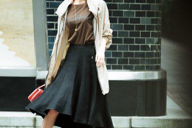 【シャカシャカブルゾンとロゴT】で、マーメードスカートを今っぽくドラマティックに[4/23 Thu.]