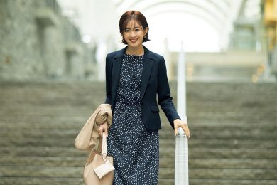 【日めくり7days①Mon】美ラインジャケットはドット柄ワンピと合わせて雰囲気美人3割増し!