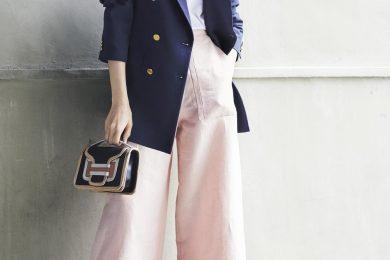 ボリュームあるジャケットとパンツは【ピンク】が女らしさの鍵に[6/9 Tue.]