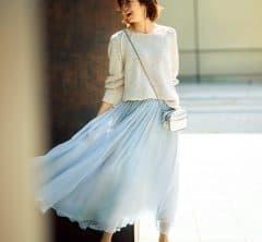 【透けスカート】はあえてぺたんこ靴でヘルシーに寄せて[7/19 Sun.]