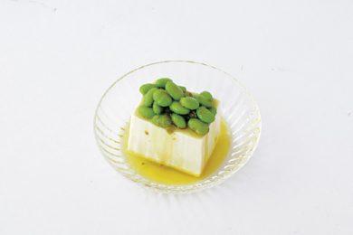 サッと作れてさっぱり美味しい!枝豆と柚子胡椒オイルの冷や奴【プロに聞いたお家ごはんレシピ】