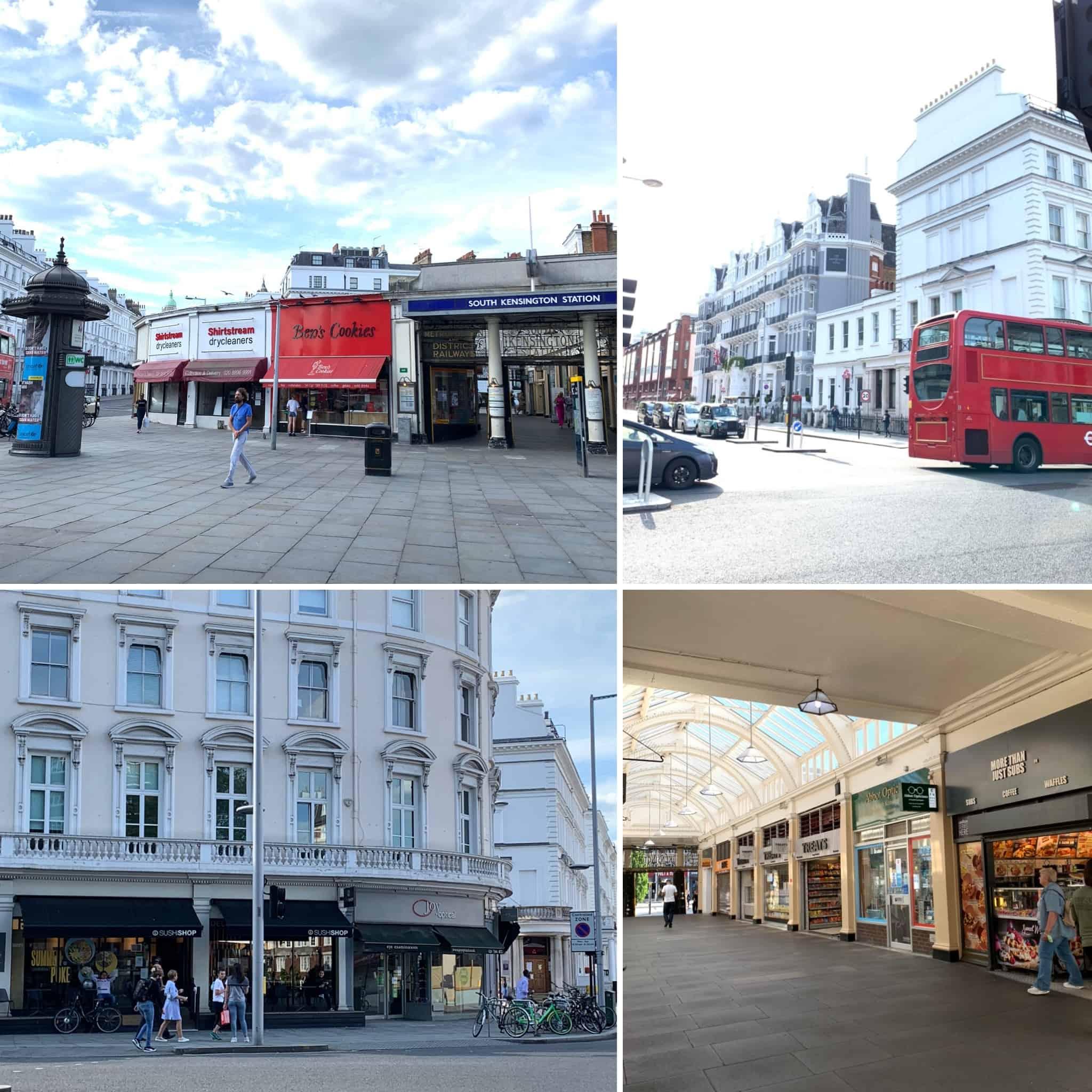 """▼ Museum が集まるSouth Kensington 駅周辺。 →7/4土の""""Super Saturday""""から、飲食店が本格再オープン。とは言え、全面オープンしているお店は、まだ全体の2/3ほど。"""