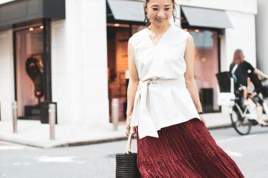 ユニクロのドット柄スカートは、カジュアルにもキレイめにも使える|オバ見えしない、オシャレさんのユニクロコーデ!