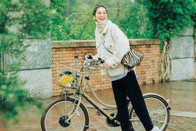 自転車乗りは【ニットパンツ×ショート丈ブルゾン】が暖かくて動きやすい![12/29 Tue.]