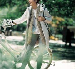 自転車で風を切っても【もこもこベスト】が中にあるからあったかい[1/19 Tue.]