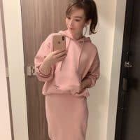 ピンクのパーカーセットアップ♡