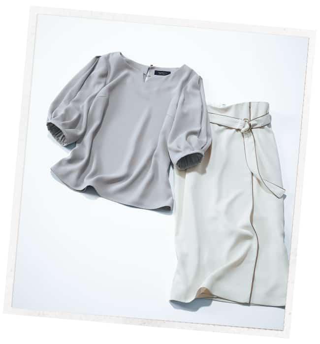 JUSGLITTYの美人盛り袖ブラウス&巻きスカート
