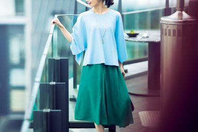 爽やかブルーと深みグリーンのコントラストが新鮮な凛としたキレイめスタイル[4/30 Fri]