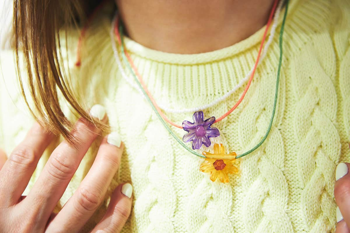 3連花ネックレス