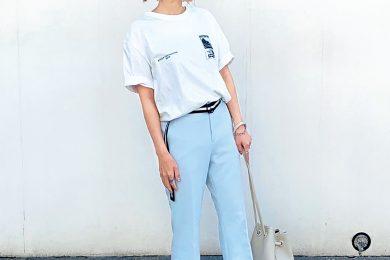 ビッグTシャツはウエストインで今っぽく|全国Sサイズさんのぺたんこ靴コーデSNAP