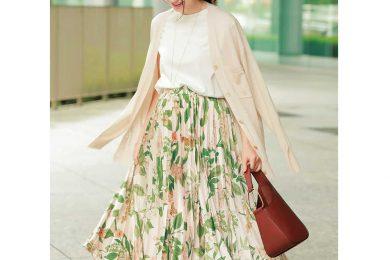 くすみ色柄スカートでイタくない「盛り可愛スタイル」完成!